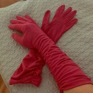 Sexy red goth elbow length rusched gloves new wot
